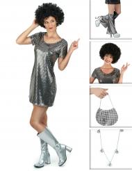 Kit disfraz Disco plateado mujer