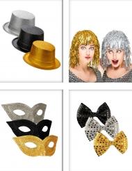 Kit accesorios de fiesta negro, dorado y plateado