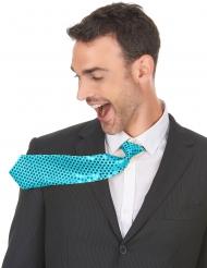 Corbata turquesa con lentejuelas adulto