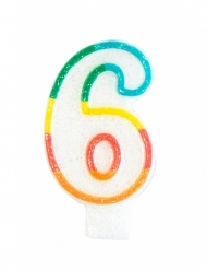 Vela de cumpleaños número 6 7.5 cm