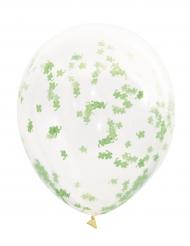 5 Globos tranparentes con confetis tréboles verdes 40.6 cm
