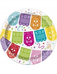 8 Platos de cartón pequeños fiesta mexicana 18 cm