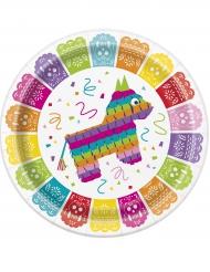 8 Platos de cartón fiesta mexicana 23 cm