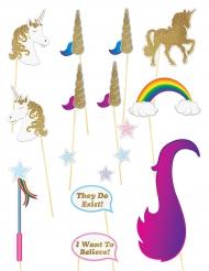 16 Accesorios para photocall unicornio brillantina