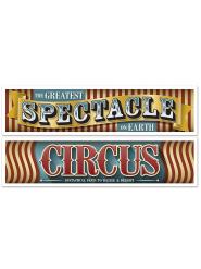 2 Banderolas circo vintage 38 cm x 1.5 m