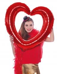 Globo marco corazón rojo