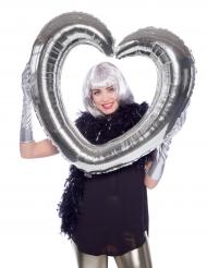 Globo cuadro forma de corazón plateado