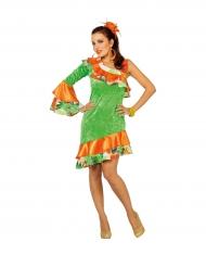 Disfraz bailarina rumba naranja y verde mujer