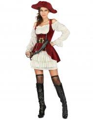 Disfraz pirata blanco y rojo mujer