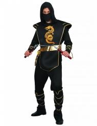 Disfraz de ninja hombre negro y dorado