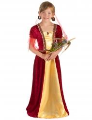 Disfraz de princesa medieval rojo niña