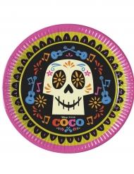 8 Platos de cartón rosa verde y negro Coco™ 23 cm