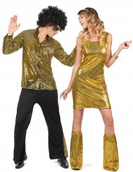 Disfraz pareja disco con lentejuelas dorado para adulto