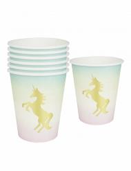 12 Vasos de cartón Unicornio tornasol 250 ml
