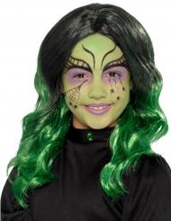 Peluca larga negra y verde niño