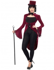 Chaqué vampiro gótico lujo rojo mujer