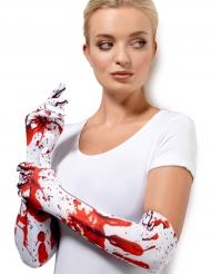 Guantes largos blancos manchas de sangre adulto