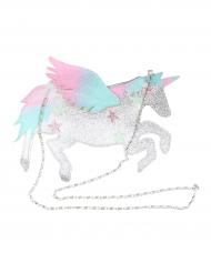 Bolso de mano unicornio blanco con brillantinas