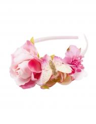 Diadema corona de flores rosas niña