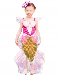 Disfraz sirena rosa y dorado con diadema niña