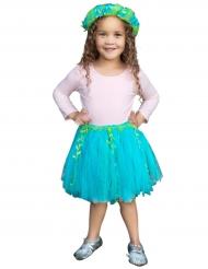 Tutú de sirena azul y verde con corona niña