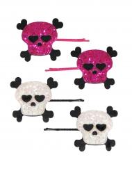 4 Horquillas calavera rosa y blanco niña