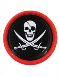 8 Platos de cartón Pirata 23 cm