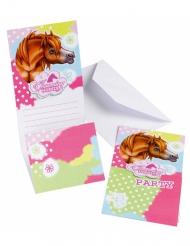 6 Tarjetas de invitación Charming Horses