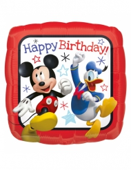 Globo cuadrado aluminio Happy Birthday™ Mickey 40 x 40 cm