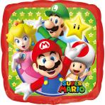 Globo pequeño cuadrado aluminio Super Mario ™ 23 x 23 cm
