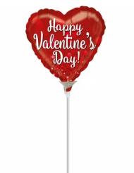 Globo pequeño de aluminio corazón Happy Valentine´s Day rojo 23 cm