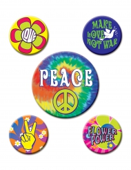 5 insignias 60`s Hippies 3,5 a 6 cms