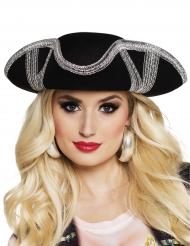 Sombrero pirata contornos plateados adulto