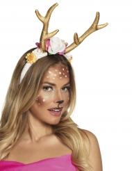Diadema ciervo dorado mujer