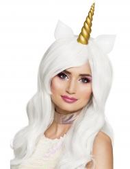 Peluca larga blanca unicornio mujer