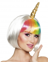 Peluca corta unicornio blanco para mujer