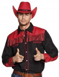 Camisa vaquero negro y rojo flecos adulto