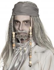 Peluca y pañuelo pirata gris adulto