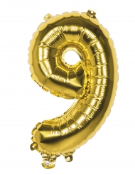 Globo aluminio número 9 dorado 36 cm