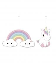 2 Decoraciones para colgar de cartón Bebé Unicornio 25 cm