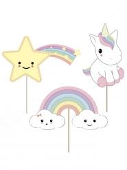 3 Decoraciones picos para torta bebé unicornio 20 cm