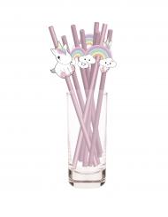 10 Pajitas bebé unicornio rosas