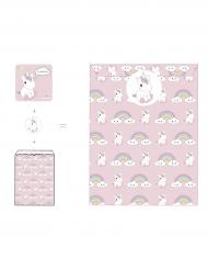 8 Tarjetas de invitación sobres y pegatinas Bebé Unicornio 12 x 12 cm