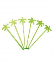 12 Agitadores de cóctel palmeras verdes 18 cm