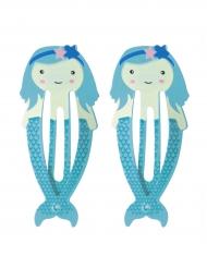 2 Horquillas sirenas azules 5.5 cm