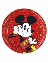 8 Platos de cartón Mickey™ retro 23 cm