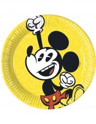 8 Platos pequeños de cartón Mickey™ retro 20 cm