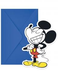 6 Tarjetas de invitación y sobres Mickey™ retro