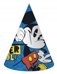 6 Gorros de fiesta cartón Mickey™ retro
