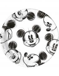 25 Platos de cartón 23 cm Mickey™ retro negro y blanco